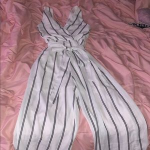 White and Black Striped Jumpsuit